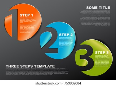 One two three - vector progress template for three steps or options - dark version
