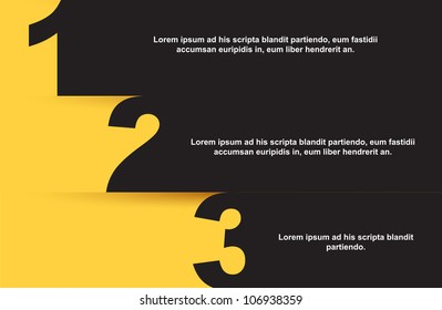 One, two and three yellow and black background, Vector illustration