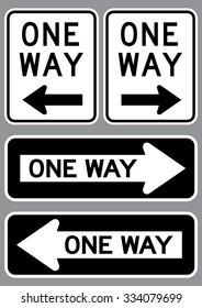 One Way Sign set . Vector illustration