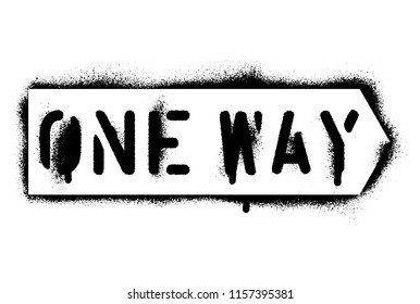 One Way Street Sign. Spray paint graffiti stencil.