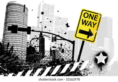 One way traffic sign city