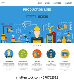 One web page about industrial production line and description process from engineering manufacture testing to packing and storage vector illustration