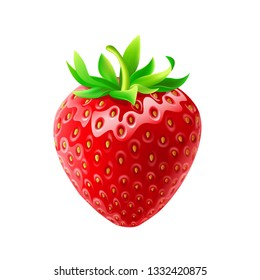 One whole strawberry. Fresh red ripe mellow berry on white background. Realistic 3d isolated vector illustration