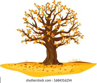 One wide massive old oak tree with orange leaves and acorns isolated illustration, majestic oak with a rough trunk and big crown on ground among fallen leaves