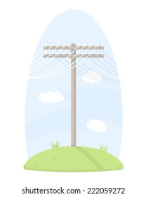 One wooden telegraph pole with wires, standing on grass, isolated