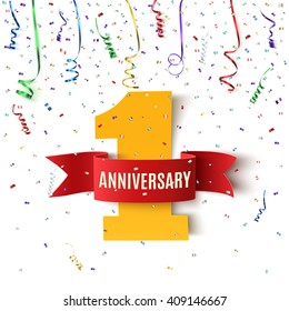 One year anniversary background with red ribbon and confetti on white. Poster or brochure template. Vector illustration.