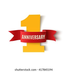 One year anniversary background with red ribbon on white. Poster or brochure template. Vector illustration.