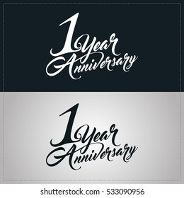 one year anniversary celebration logotype. 1st anniversary logo
