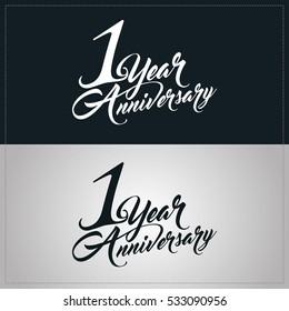 one year anniversary celebration logotype. 1st anniversary logo
