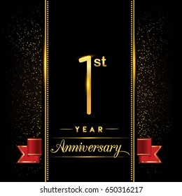 one year anniversary celebration logotype. 1st anniversary logo with confetti golden colored and red ribbon isolated on black background, vector design for greeting card and invitation card