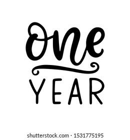 One year baby shower. Newborn age marker, month anniversary card, milestone vector template design.