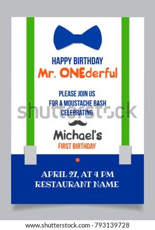 one year boy birthday invitation card stock vector royalty free