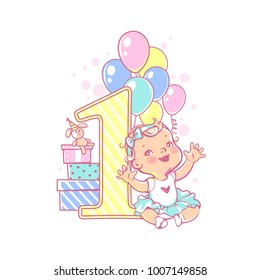 One year girl sitting near large number 1. First year celebration. Little girl's birthday party. Happy  girl wearing tutu skirt. Air balloons, gifts, crown, bright colors.     Vector illustration.