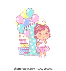 One year girl standing near large number 1. First year celebration. Little girl's birthday. Cute toddler girl wearing tutu skirt. Air balloons, gifts, crown, bright color. Party. Vector illustration.
