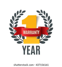 One Year Warranty background with red ribbon and olive branch on white. Poster, label, badge or brochure template. Vector illustration