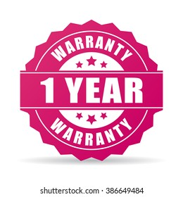 One year warranty icon isolated on white background