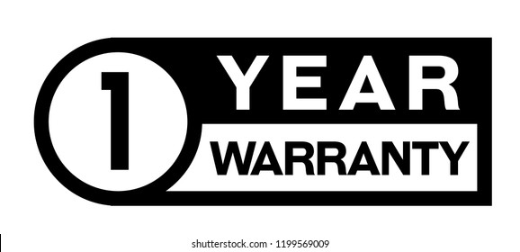 one year warranty stamp on white background. Sign, label, sticker.