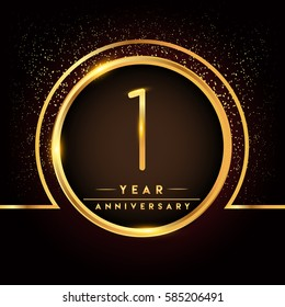 one years birthday celebration logotype. 1st anniversary logo with confetti and golden ring isolated on black background, vector design for greeting card and invitation card.