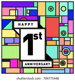 One years greeting card anniversary with colorful number and frame. logo and icon with Memphis style cover and design template