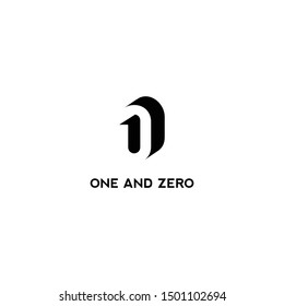 one and zero logo design with hidden space concept