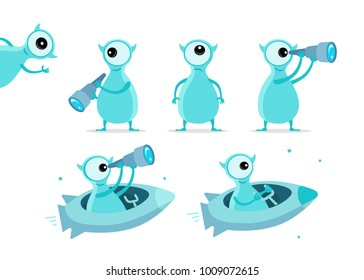One-eyed blue alien character set. With telescope search. On rocket starfish. Flat color vector illustration stock clipart
