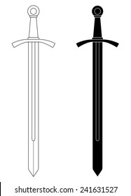 One-handed medieval knight vector sword clip art illustration isolated on white. Contour, black and white