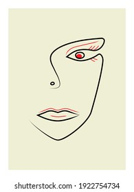 One-line face portrait, modern abstract colorful shapes. An isolated surreal portrait of woman face with red and black lines. Vector illustration in a modern abstract style.