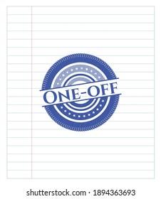 One-off blue ink pen emblem. Vector Illustration. Detailed.