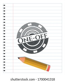 One-off emblem draw with pencil effect. Vector Illustration. Detailed.