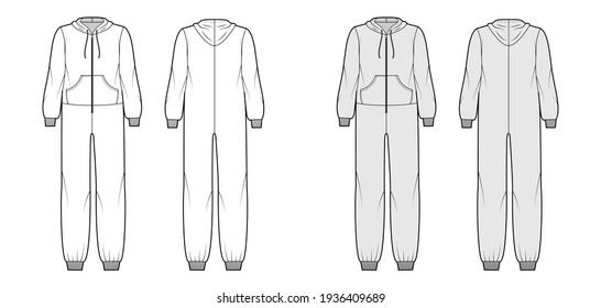 Onesie overall jumpsuit sleepwear technical fashion illustration with full length, hood, zipper closure, kangaroo pouch. Flat Dungaree front back, white, grey color style. Women, men unisex CAD mockup