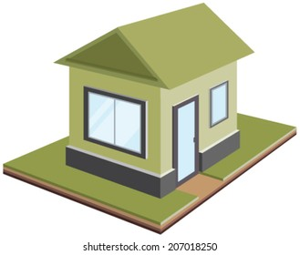 One-storey house, isometric projection. Illustration in vector format