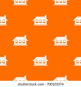 One-storey house with three windows pattern repeat seamless in orange color for any design. Vector geometric illustration