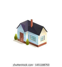 one-storey small rural family house, Polygonal isometric vector isolated illutration