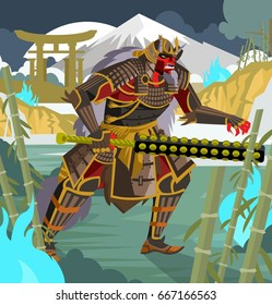 oni chinese japanese demon folklore troll with samurai armor in bamboo forest