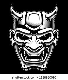 Oni demon vector art. Vector illustration on dark background.