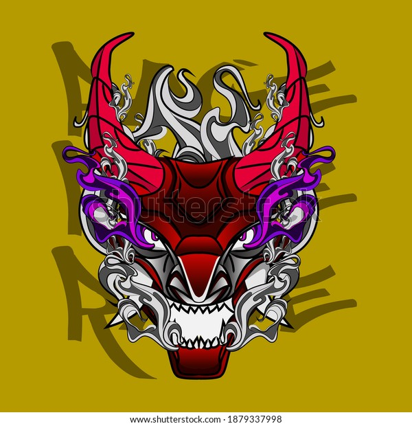 oni or devil mask illustration design for sukajan is mean japan traditional cloth or t-shirt with digital hand drawn Embroidery Men T-shirts Summer Casual Short Sleeve Hip Hop T Shirt Streetwear