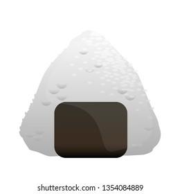 Onigiri isolated on white. Vector illustration of japanese food