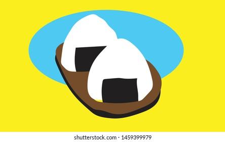 Onigiri Japanese Food Flat Illustration