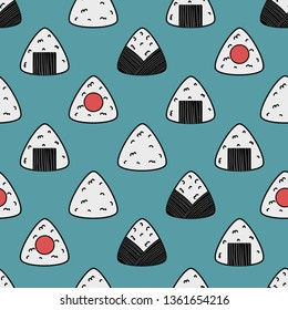 Onigiri seamless pattern on blue background. Asian snack. Japanese food. Vector sushi. Seamless pattern. Lunch texture.
