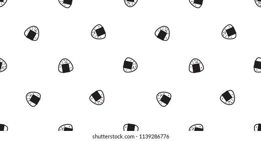 onigiri seamless pattern vector sushi japanese food tile background scarf isolated illustration cartoon wallpaper