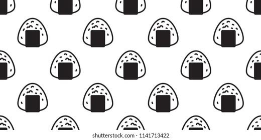 Onigiri seamless pattern vector sushi Japanese food tile background scarf isolated illustration cartoon repeat wallpaper
