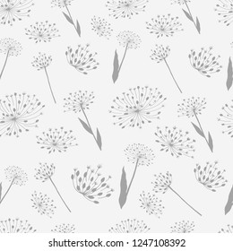 onion and garlic flowers seamless pattern
