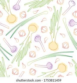 onion garlic tender contour seamless pattern