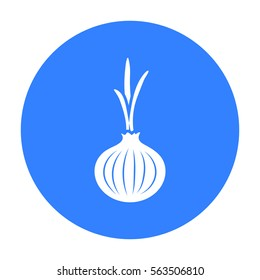 Onion icon black. Singe vegetables icon from the eco food black.