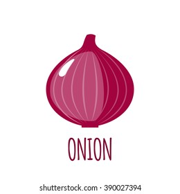 Onion icon in flat style. Isolated object. Onion logo. Vegetable from the garden. Organic food. Vector illustration.