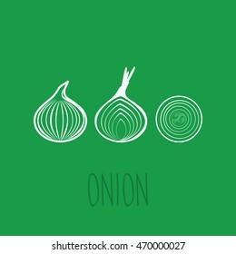 Onion outline vector icon.