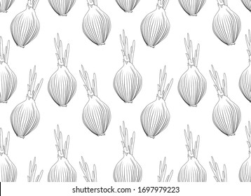 Onion pattern, food seamless background from hand drawn onions. Vector illustration