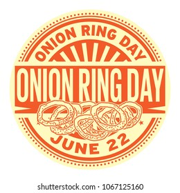 Onion Ring Day stamp,  June 22, rubber stamp, vector Illustration