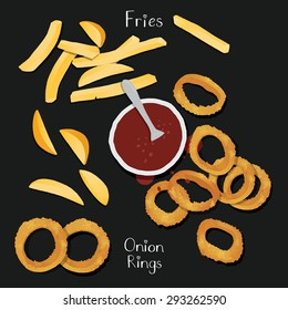 Onion rings and chips from top view.