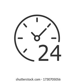Online 24 icon. Vector Illustration.